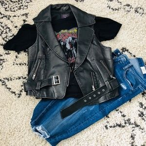 Faux Leather Vest- Biker Style w/belt